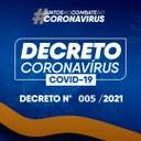Decreto Municipal Nº 005/2021 dispõe sobre medidas para conter a propagação da COVID-19.